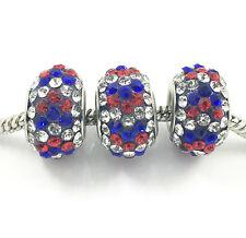 2pcs Luxurious Czech Crystal Round Bead European Charm Fit Necklace Bracelet hot