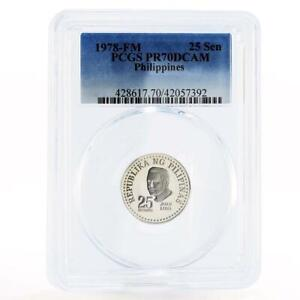 Philippines 25 sentimos Artist Juan Luna PR70 PCGS nickel coin 1978