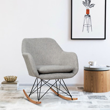 Gray Accent Upholstered Fabric Rocking Armchair Mid-Century Modern