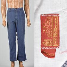 Large 1970s Mens Denim Jeans Blue Flared Leg VTG Distressed Pockets Zip Fly 70s