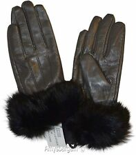 Leather Gloves, Real Fox fur, (M) Women's Gloves, Warm Lined Winter Dress Gloves