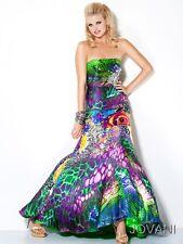 Jovani Printed Strapless Corset Mermaid Prom Evening Dress Sz 10 NWT