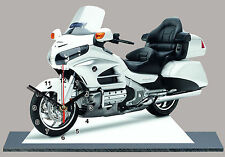 MODEL CARS, MOTO, HONDA GOLDWING-03 white, with Clock