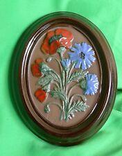 Vintage GABRIEL Sweden A203 Swedish wall decor plaque ceramic FLOWERS signed