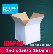 100x Mailing Box 150x150x150mm White Regular Cardboard Packing Boxes