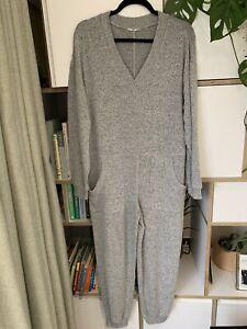 Hush Belle Supersoft V Neck Jersey Grey Marl Pocket Loungewear Jumpsuit XS