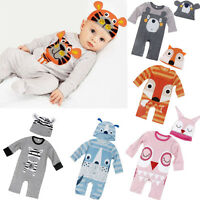 2PCS Newborn Baby Boy Girl Clothes Long Sleeve Romper Jumpsuit+Hat Outfits 0-24M