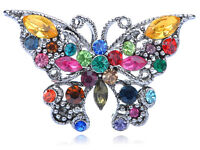 """2.75/"""" SILVER WHITE FILIGREE CUT-OUT BUTTERFLY CZ DIAMANTE CRYSTALS BROOCH PIN"""