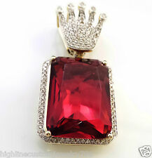 Men's 1.14CT Genuine Square Diamond 14K Yellow Gold Pendant with Synthetic Ruby