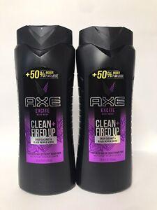 (2) Axe EXCITE Body Wash-Crisp Coconut & Black Pepper Scent-24oz. Each