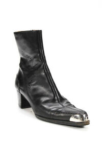 Sergio Rossi  Womens Zip Up Perforated  Leather Boots Black Size 39 9