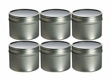 Food Grade Round Tin Container Set (6 Pieces) 4 FL OZ with Clear Window Top