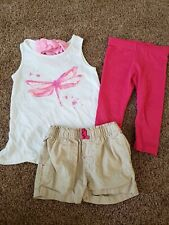 toddler girl outfit size 3t, tan shorts, pink capris, sparkly top