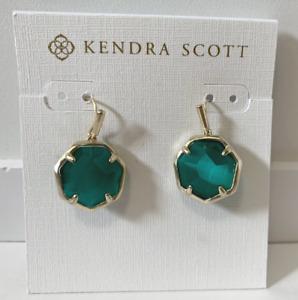 Kendra Scott Cynthia Gold-Plated Stone Drop Earrings Emerald Cats Eye Green