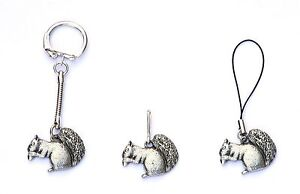 Squirrel Zip Pull , Mobile Phone Charm or Keyring Pewter Gift Pouch new