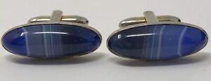 Antique Unusual Stunning Natural Blue  Banded VINTAGE Agate Cufflinks