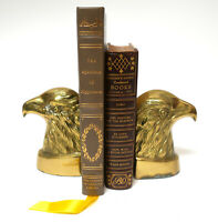 "Vtg Brass Eagle Bird Bust Americana Rustic Figural Bookends MCM 5.25"" x 3.75"""