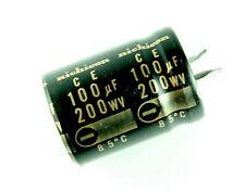 2pcs Nichicon 100uF 200v Radial Electrolytic Capacitor