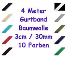 Gurtband Baumwolle 30mm / 3cm  10 Farben schwarz weiß rot blau grün braun beige