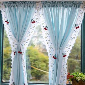 1 Panel Cotton Linen Lace Trim Ruffled Short Curtain Window Door Cabinet Drape