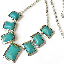 Very Beautiful Titanium 7 Rectangle Natural Turquoise Beaded Amulet necklace