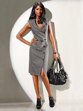 """""""SINGH S MADAN"""" Designer Kleid Etuikleid mit Wolle in schwarz-grau Neu"""