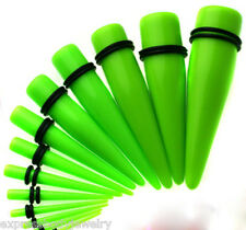 NEON GREEN Taper Pair 2g Ear Plug Tapers Expander Stretcher Gauges