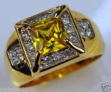 Yellow Sapphire simulated Men's ring 20 czs 18K yellow gold overlay size 12