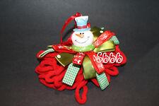 "SNOWMAN Chenille Yarn Christmas Tree Ornament 8"" Satin Ribbon Cord Gingham"