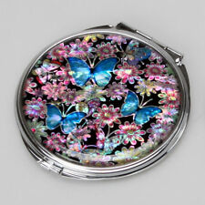Mother of Pearl Blue Butterfly Compact Cosmetic Makeup Purse Pocket Round Mirror