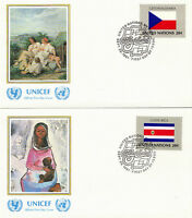 UNITED NATIONS 1981 FLAGS PAIR ON UNICEF OFFICIAL FIRST DAY COVERS NEW YORK SHS