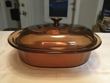 Vision Corning 4L Amber Dutch Oven Roaster Ribbed Casserole Dish & Lid Usa