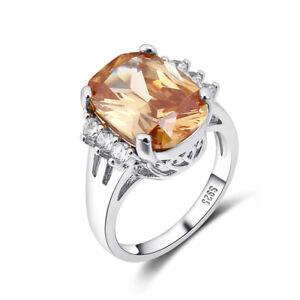 Vintage 925 Silver Oval Cut Morganite Gemstone Wedding Engagement Ring Jewelry