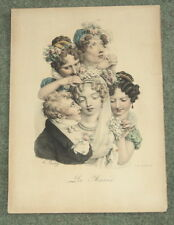 LA MARIEE orig. 1824 LOUIS-LEOPOLD BOILLY COLOR LITHOGRAPH - (THE BRIDE)