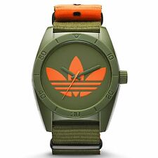 Adidas Mens ADH2876 Santiago Originals Khaki Green Orange Canvas Strap Watch