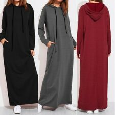 UK Womens Maxi Jumper Dress Long Sleeve Hooded Baggy Casual Hoodies Pullover
