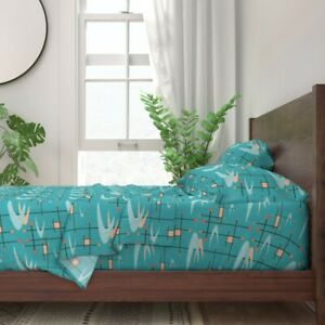 Mid Century Modern Boomerangs Turquoise 100% Cotton Sateen Sheet Set by Roostery