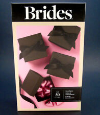 Set of 50 Black Party Favor Gift Boxes Wedding Shower Candy Box Lids Cut Ribbon