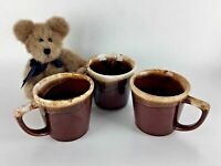 Set 3 McCoy Mugs Cups Brown Drip USA Pottery Mid Century Modern MCM