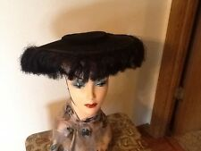 Vintage Womens Hat Wide Brim Horsehair Black Felt Original 1930s Ladies Prop