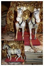 DELIGHTFUL FRENCH ANTIQUE PAIR WOODEN HORSES PULL TOY GREAT for BISQUE DOLL