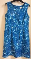 Blue and White Floral Sleeveless Sheath Dress Size Ladies 12