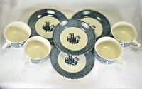 4 Sets | Royal (USA) | Currier and Ives | Blue | Flat Cup and Saucer Sets