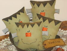 PATTERN~PRIMITIVE HALLOWEEN FRANKIE SQUARE HEADS BOWL FILLERS DOLL ORNIES