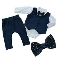Boys Elegant 4 Pcs SET Waistcoat Trousers Shirt Bow Christening Wedding Birthday