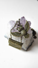 Collier Harry Potter hiboux chouette Edwige bronze antique invitation Poudlard