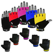 Leather Cycling Gloves Padded Palm Fingerless MTB / Cycle Mitts Grip Gloves