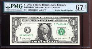 2017 $1 Federal Reserve Note Fancy RADAR Serial #G23400432D PMG 67EPQ