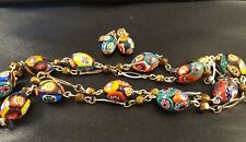 "Vintage Murano Venetian MILLEFIORI Glass Bead Necklace 15"" And Clip Earring Set"