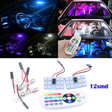 2Pcs Car Roof Dome Reading Light 5050 12 SMD RGB LED Lamp + Remote Control